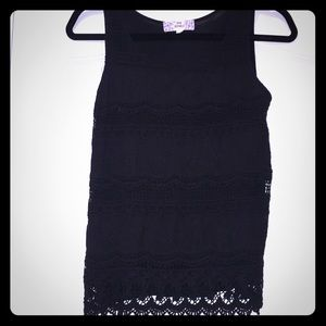 Black cotton lace tank top
